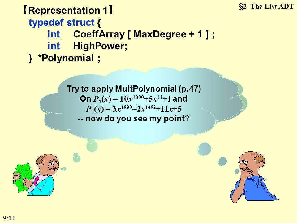 int CoeffArray [ MaxDegree + 1 ] ; int HighPower; } *Polynomial ;